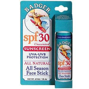 Click to buy Badger All Natural, All Season Face Stick, Sunscreen, SPF 30, Unscented .65 oz (18.4 g) from Amazon!