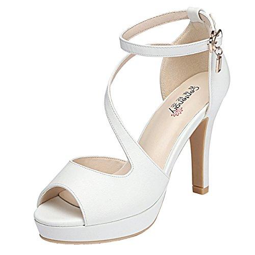 Kiwii Women Fashion Graceful Peep Toe Strap Belt Buckle Party Wedding Stiletto Heels Pump Shoes(6 B(M) US, (Eskimo Outfit)