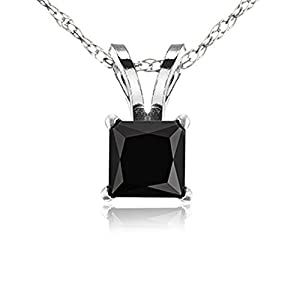 1.90 Carat (ctw) 14K White Gold Princess Cut Black Diamond Ladies Solitaire Pendant