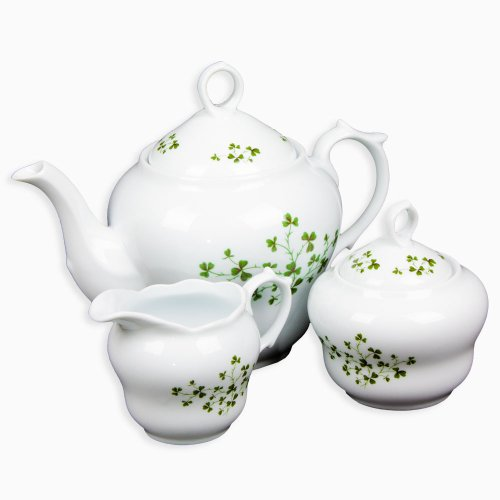 Set of 3 White Porcelain Dishes Tea Set with Decorative Shamrocks