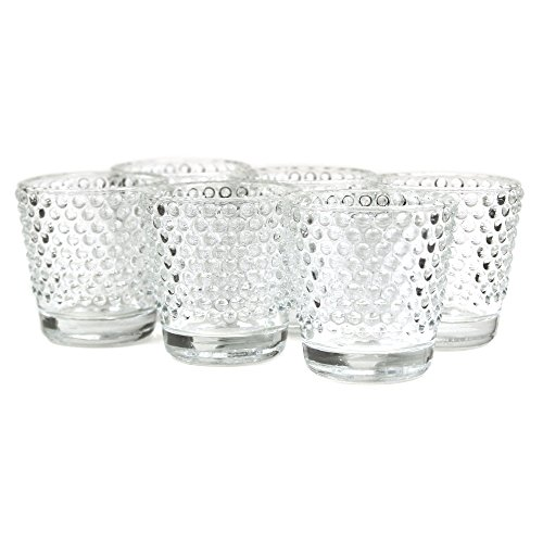 Koyal Hobnail Glass Candle Holder, 6-Pack