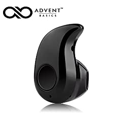 "Advent Basicsâ""¢ Smallest Wireless Invisible Bluetooth Mini Earphone Earbud Headset Headphone Support Hands-free Calling Compatible With iPhone Samsung Xiaomi Sony Lenovo HTC LG and Most Smartphone - Black"