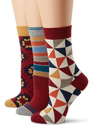 PACT Women's Heritage 3 Pack Crew Sock Gift Set, Multi Colored, One Size