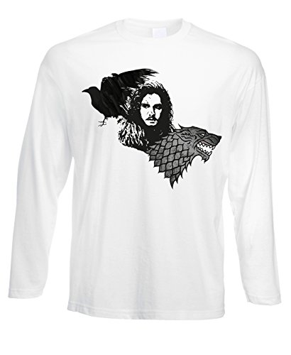 Tshirt a maniche lunghe Games of thrones - Jon Snow Stark Crow -serie tv - in cotone by Fashwork