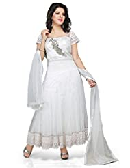 Utsav Fashion Women's Off White Net Readymade Anarkali Churidar Kameez-Medium