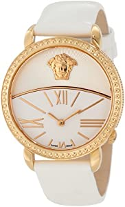 Versace Women's 93Q80D002 S001 Krios White Enamel and Sunray Dial Patent Leather Watch
