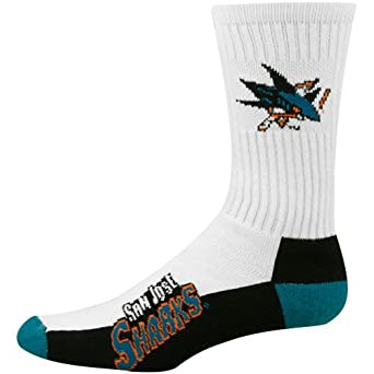 NHL San Jose Sharks Mens Crew Socks, Large by For Bare Feet