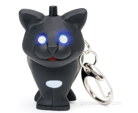 Black Cat Key Chain and LED Flashlight