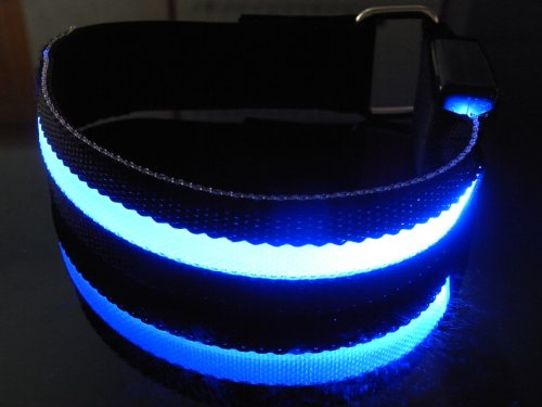LED Armband Roadway Safety Flashing LED Armband Flexible Running Light Armband-(8 Color) (Blue)