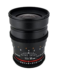 Rokinon Cine 35mm T1.5 Aspherical Wide Angle Cine Lens with De-Clicked Aperture for Canon EOS DSLR 35-35mm