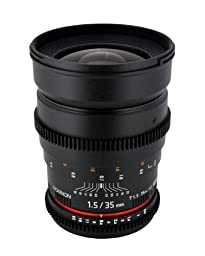 Rokinon Cine CV35-S 35mm T1.5 Aspherical Wide Angle Cine Lens with De-Clicked Aperture for Sony Alpha DSLR 35-35mm, Fixed-Non-Zoom Lens