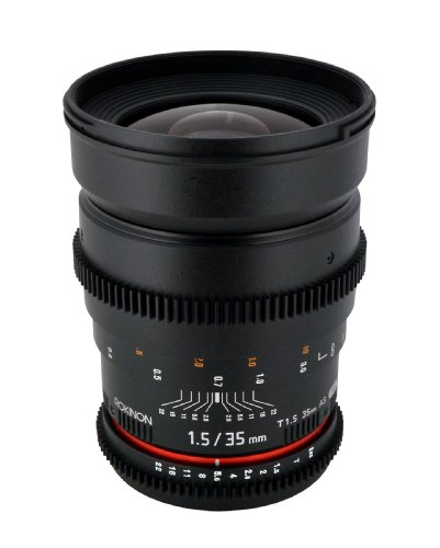 Rokinon Cv35-Nex 35Mm T/1.5 Aspherical Wide Angle Lens With De-Clicked Aperture For Sony E-Mount (Nex)Fixed Lens