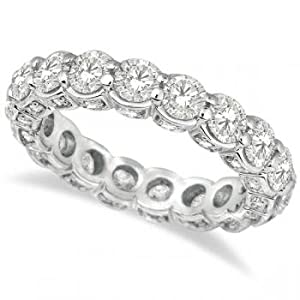 Luxury Prong Set Diamond Eternity Ring Band 18k White Gold (3.80ct)