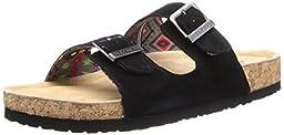 Skechers Women\'s Memory Foam Double Strap Sandal,Black,10 M US