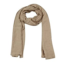 FabSeasons Brown Solid Cotton Unisex Scarf, Scarves, Stole and Shawl for Men & Women for all Seasons