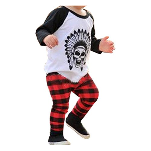 FEITONG 1Set Infant Toddler Baby Boy's Long Sleeve Print T-shirt Tops+ Pants (24 Months)