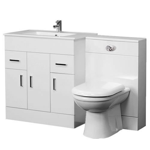 VeeBath Sphinx Bathroom 1300 Minimalist 800 Vanity with WC Unit, D Pan,Cistern