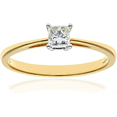 Ariel 18ct Yellow Gold Engagement Ring, J/I Certified Diamond, Princess Cut