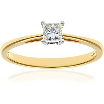 Ariel 18ct Yellow Gold Engagement Ring, J/I Certified Diamond, Princess Cut
