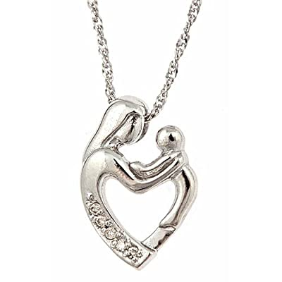Amazon.com: 10K White Gold Diamond Mother and Child
