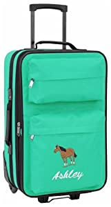 Personalised Kids luggage with wheels (teal)