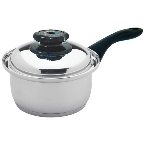 Maxam 9-Element 1.7Qt Saucepan With Cover Surgical Stainless Steel Construction Capsule Bottom