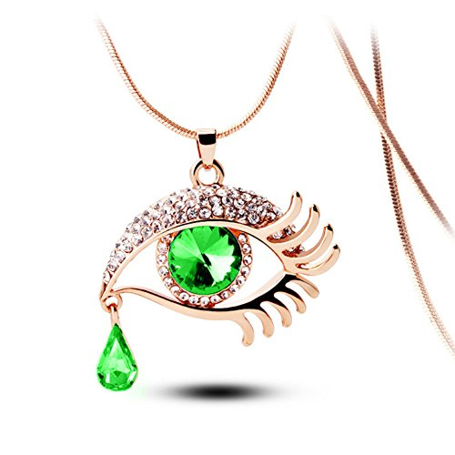 Angel's Tears Gold Plated Eye Shape Austrian Crystal Pendant Necklace for Womens in Fashion Jewelry