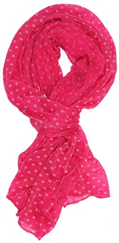 Modern Minute - Wispy Chiffon Polka Dot Scarf In Pink