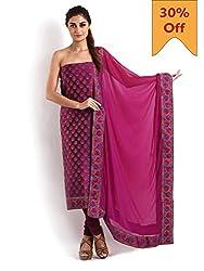 Violet Red Colour Banarasi 2Pc Suit