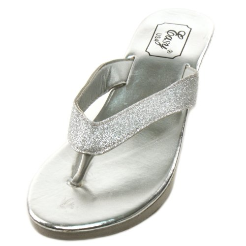 "Ladies Glitter Bling Heeled 2-1/8"" Wedge Flip Flops Thongs Sandals Silver Sz 9 front-147693"
