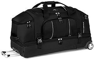 High Sierra Endeavor Drop-Bottom Wheeled Duffel Bag, Black, 28-Inch