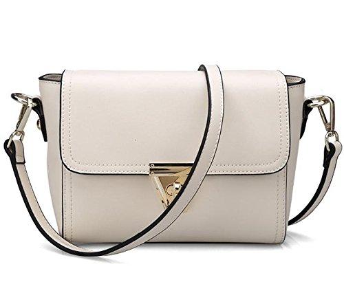 GQQ Borsa in pelle di nuovo obliquo croce borsa a tracolla donna borse in pelle , white
