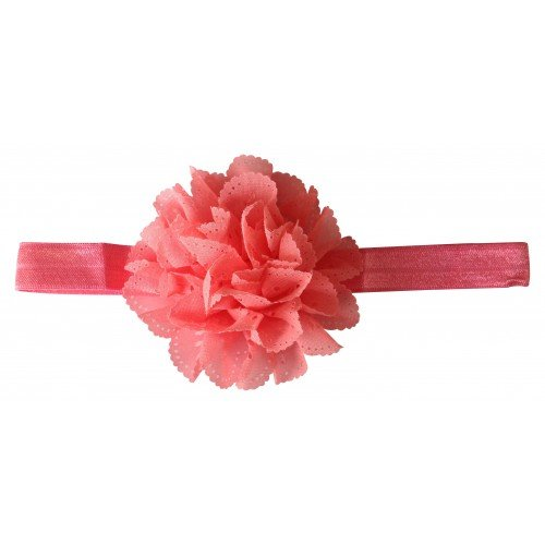 PinkXenia Wavy Edge Hollow Out Peach Flower soft Elastic Newborn Headband