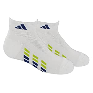 adidas Boy's Youth Climacool X-Low-Cut Sock (Pack of 2), White/Dark Blue/Lab Lime, Large