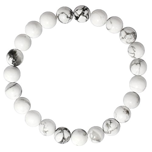 White Howlite Beads, maxin Bling Jewelry 8MM Crystal Elastic Stretch Loose Beaded Bracelet--Unisex