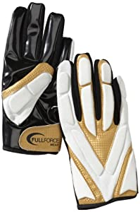 Full Force Hornet FF02040632 American Football Gloves LB / RB / Receiver Padded Weiss/gelb Size:S