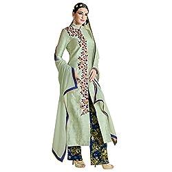 Bhelpuri Women Green Bhagalpuri Semi-stitched Salwar Kameez