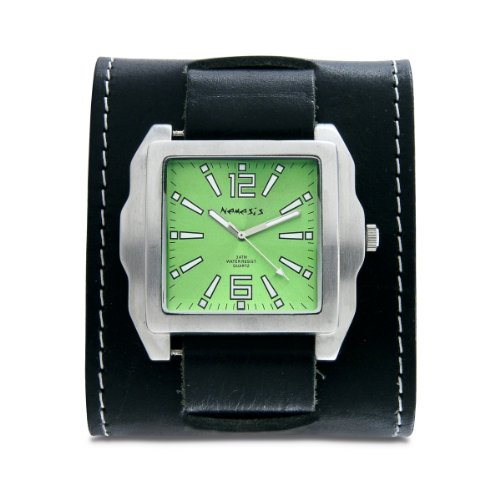 Nemesis Men's WSTW020G Classic Green SQ Groovy Leather Cuff Band Watch