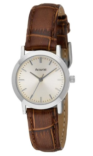 Ladies Accurist Analogue Watch Brown Genuine Leather Strap Silver Dial LS672S