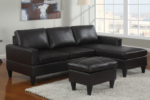 Cannes Reversible Left / Right Sectional Couch With Free Ottoman In Faux Leather (Espresso) front-648118