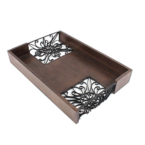 Serving tray rustic hand carved wooden iron decorative