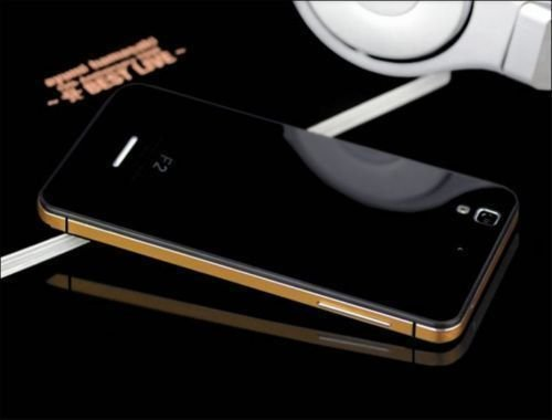 TEMPERED GLASS BACK ALUMINIUM BUMPER Cover Case For Micromax Yu Yureka Black & Gold