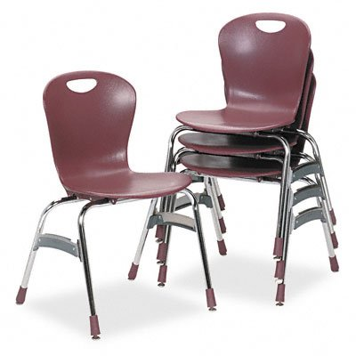 Virco, Inc. Virco Zu41850 Ergonomic Stack Chair 18 High Zuma Bucket Seat Wine 4/Carton