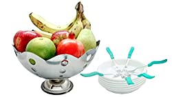 Stainless Steel Designer Fruit Bowl Set of 13 Pcs- 1 fruit Bowl, 6 Unbreakable PC Fruit Plates with 6 Fruit Forks