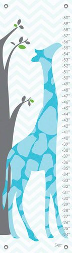 Oopsy Daisy Fine Art for Kids Modern Giraffe Blue Growth Chart by Stacy Amoo-Mensah, 12 by 42-Inch