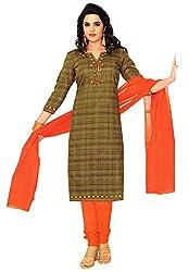 Azy Fabrics Women's Cotton Dress Material(313_FT_Beige)