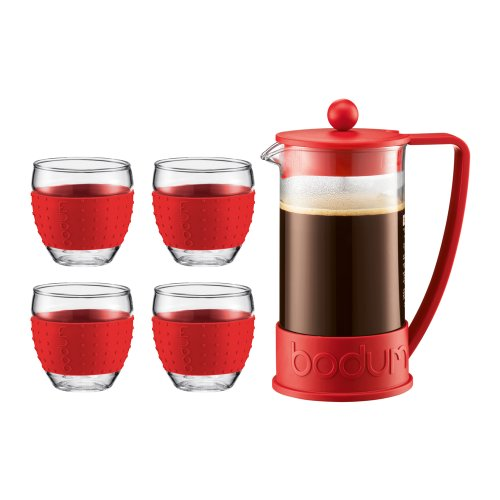 Bodum Brazil French Press 34-Ounce Coffee Maker with Set of 4 12-Ounce Pavina Glasses, Red