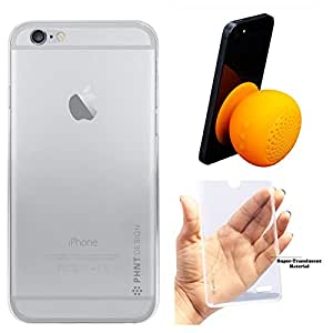 """DMG PHNT Premium Scratch-Resistant Ultra Thin Clear TPU Skin Case for Apple iPhone 6 (4.7"""") (Clear) + Waterproof Bluetooth Suction Stand Speaker"""