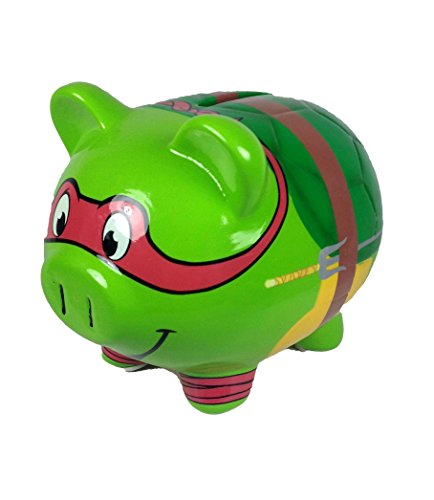 Teenage Mutant Ninja Turtles Raphael Ceramic Piggy Bank, Raph Coin Bank, TMNT Coin Deposit - 1