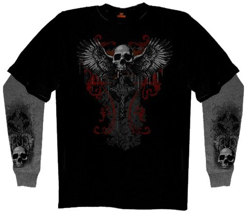 Hot Leathers Flying Skull Thermal Sleeve Tee (Black, X-Large)